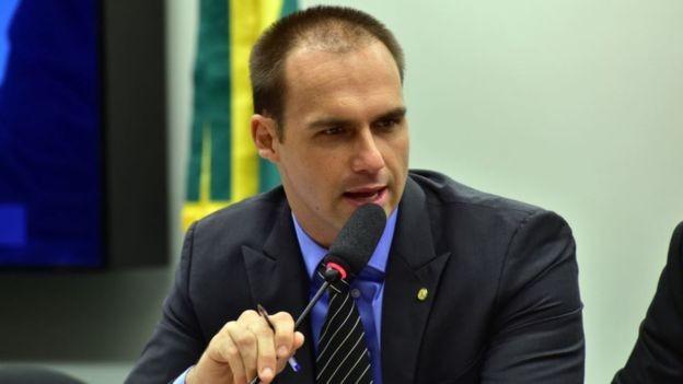 Eduardo Bolsonaro é o filho mais velho do candidato do PSL e deputado federal por São Paulo (Foto: ZECA RIBEIRO / AGÊNCIA CÂMARA via BBC)