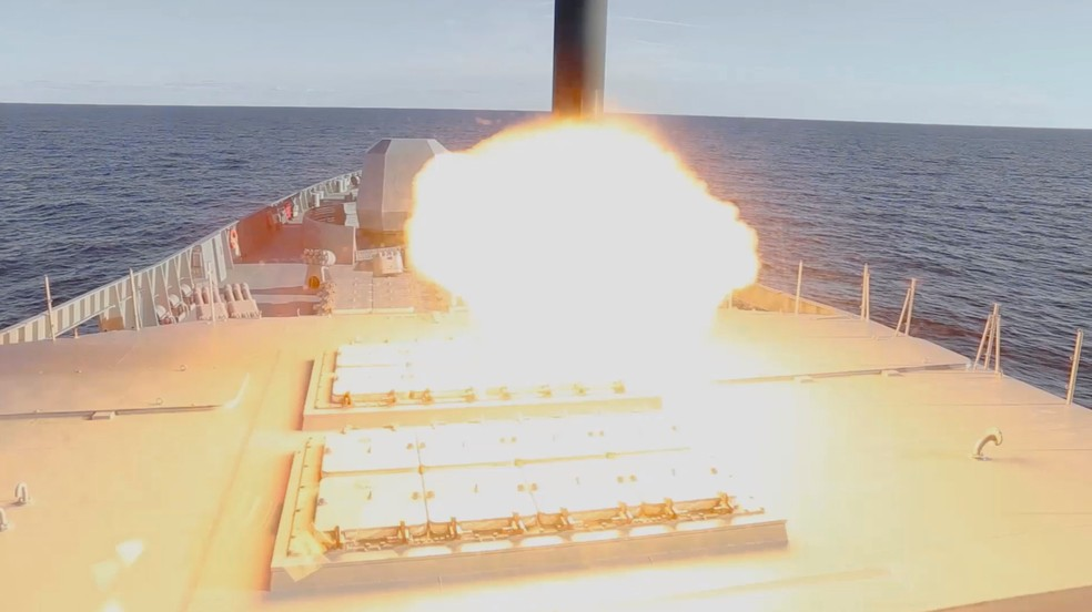 Imagem do lançamento do míssil hipersônico da Rússia, em 7 de outubro de 2020 — Foto: Divulgação/Ministério de Defesa da Rússia