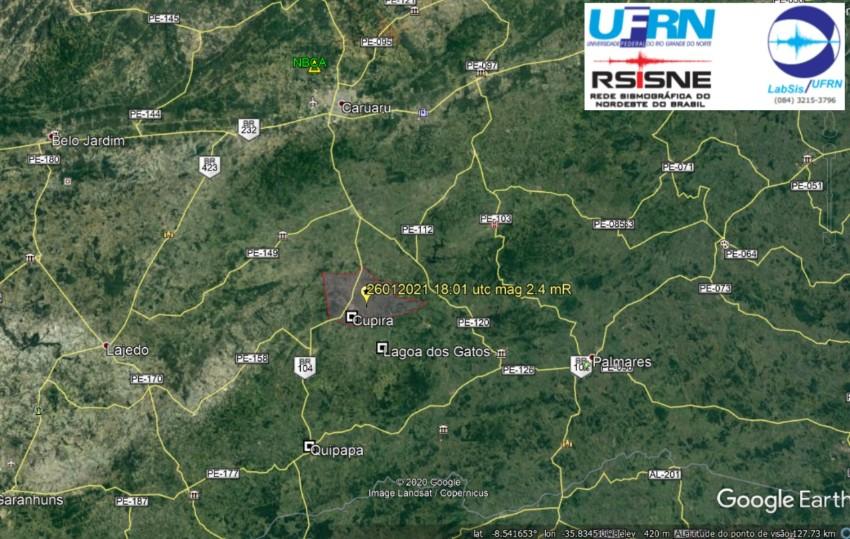Tremor de magnitude 2.4 é registrado em Cupira