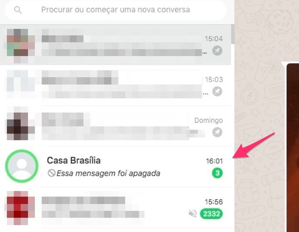 Ação para visualizar usando a extensão WA Web Plus as mensagens deletadas por um contato do WhatsApp — Foto: Reprodução/Marvin Costa