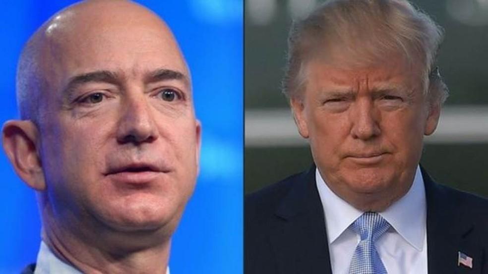 Bezos, fundador da Amazon, e Trump trocaram acusações durante o mandato do republicano — Foto: France Presse