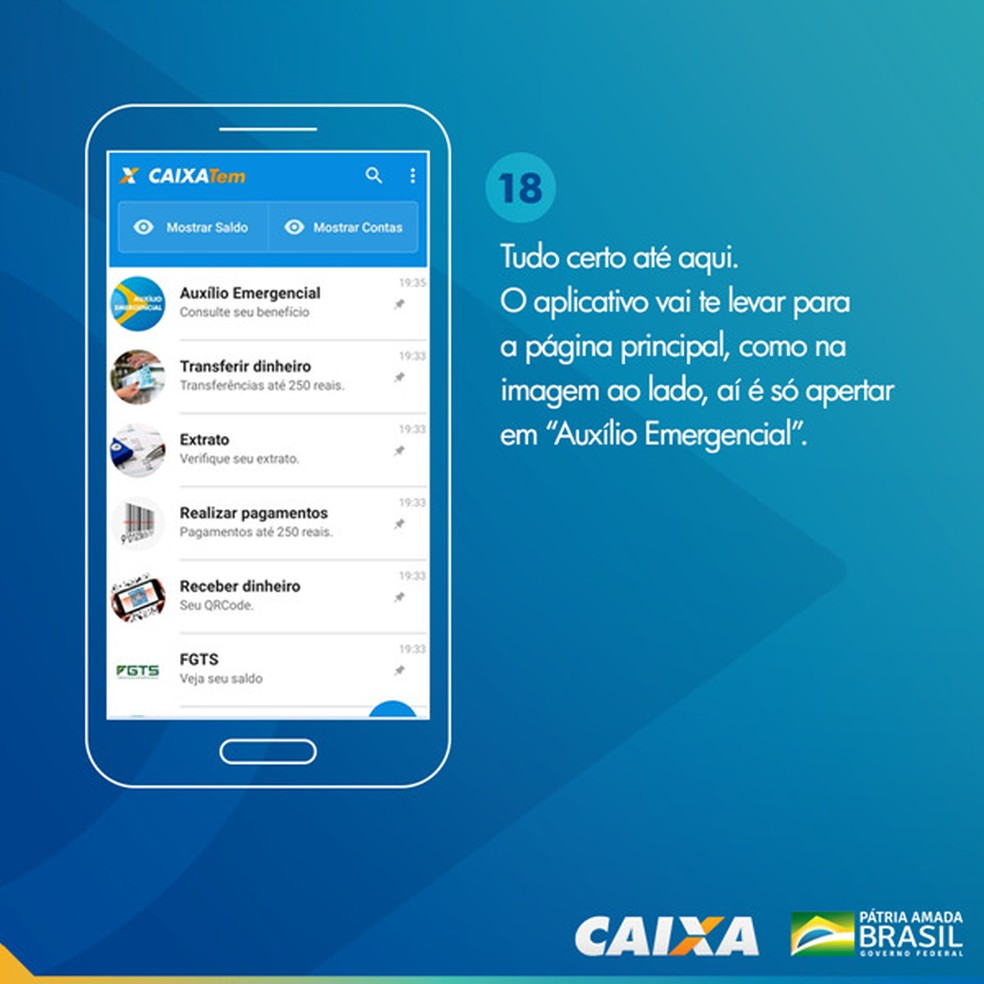 Tela 18 para pedir abertura da poupança social digital — Foto: Divulgação Caixa