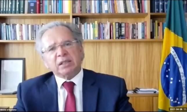 O ministro da Economia, Paulo Guedes, durante conferência Brazil Summit, organizada pela Câmara de Comércio Brasil-Estados Unidos