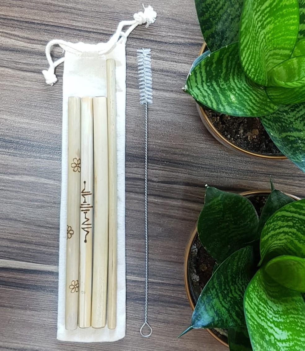 Procura por kits de canudos de bambu aumentou em até 400%, diz agrônomo  — Foto: Divulgação/Empresa Ambiental Amazônia