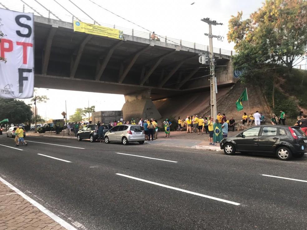 Manifestação pede veto à lei de abuso de autoridade, em Teresina — Foto: G1 PI