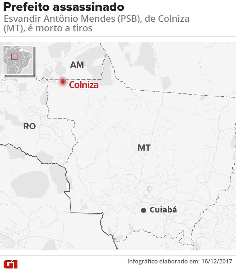Localização do município de Colniza, onde o prefeito foi assassinado a tiros (Foto: Roberta Jaworski/G1)