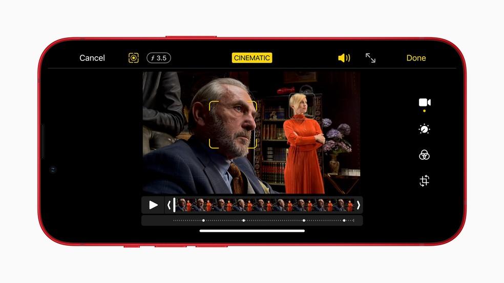 Modo cinema no iPhone 13 não grava emK — Foto: Divulgação/Apple
