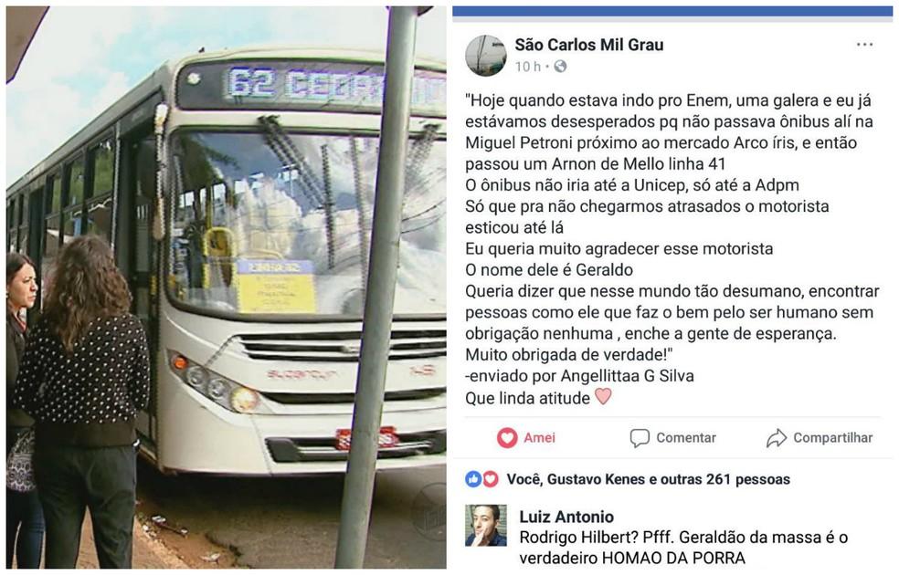 Estudante posta agradecimento a motorista que 'salvou' candidatos do Enem em grupo do Facebook em São Carlos (Foto: Arquivo/ EPTV e Reprodução/ Facebook)