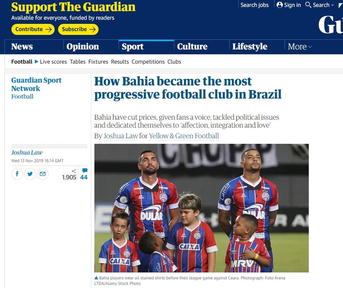Jornal inglês destaca ações afirmativas e diz que Bahia é o clube mais progressista do Brasil