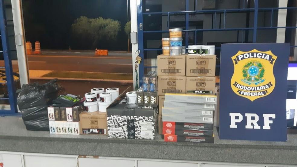 50 kg de essência de narguilé paraguaia foram apreendidos, segundo a polícia — Foto: PRF/Divulgação