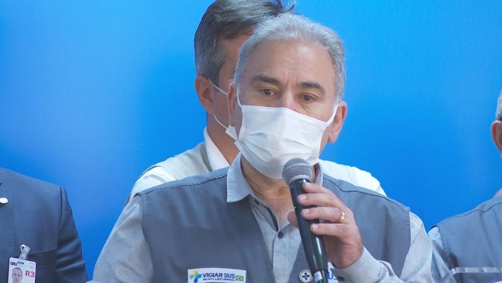 Ministro da Saúde durante agenda em SP — Foto: Reprodução/TV Globo