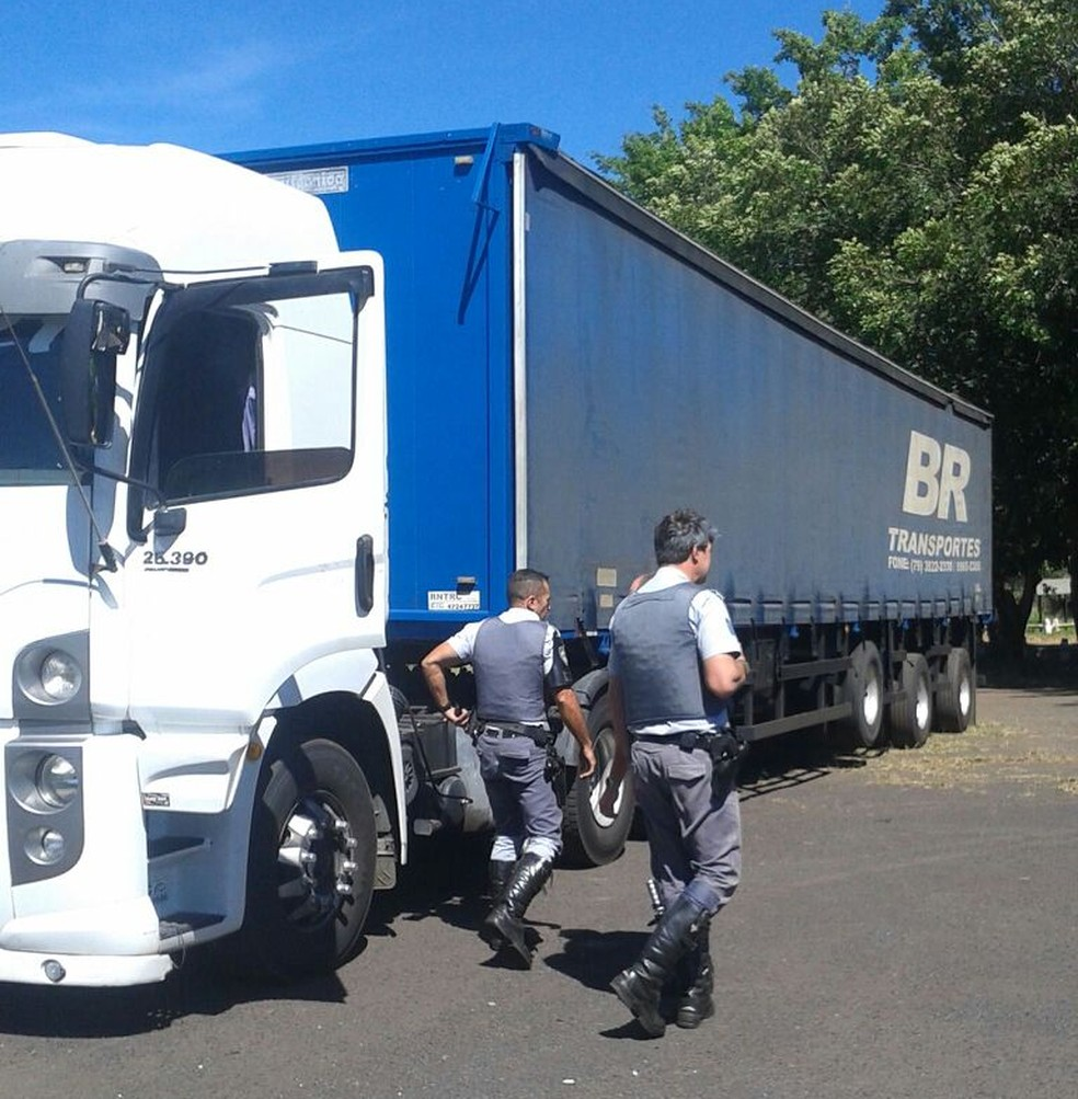 Armas estavam na carreta abordada a 2 km da base policial em Assis  (Foto: Polícia Rodoviária/ Divulgação )