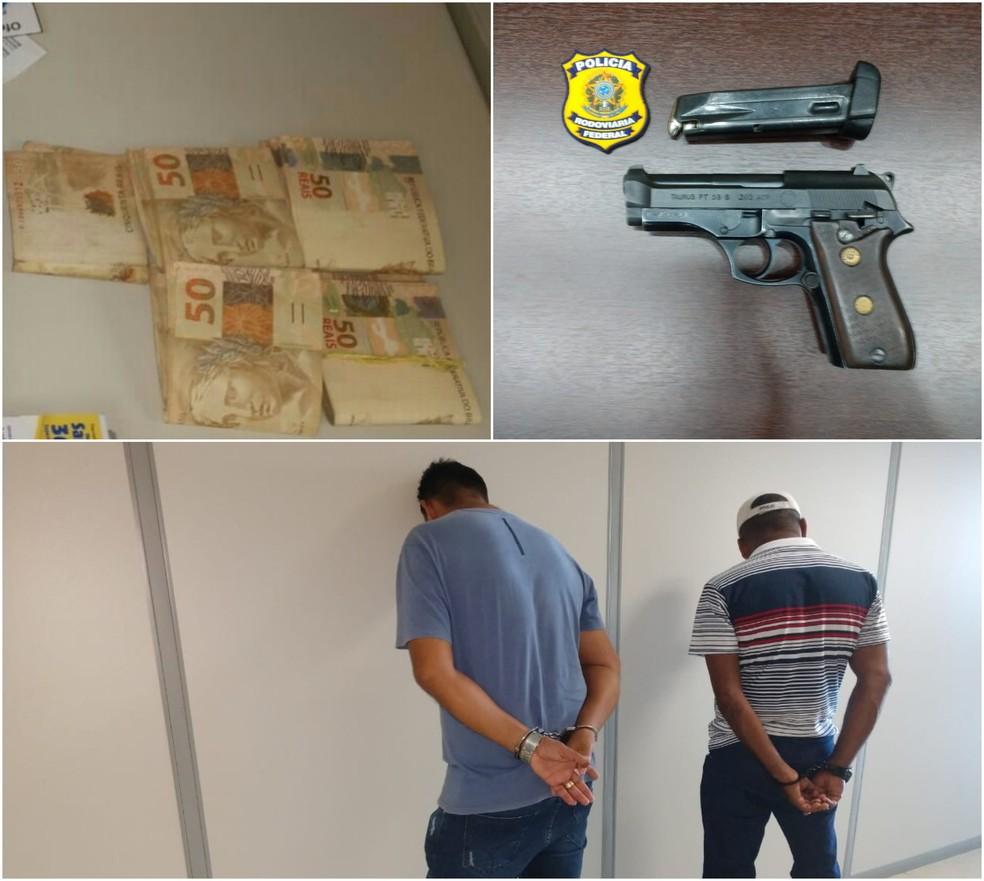 Dupla é presa em flagrante por crime eleitoral e porte ilegal de arma de fogo em Rio Branco — Foto: Divulgação/PRF-AC