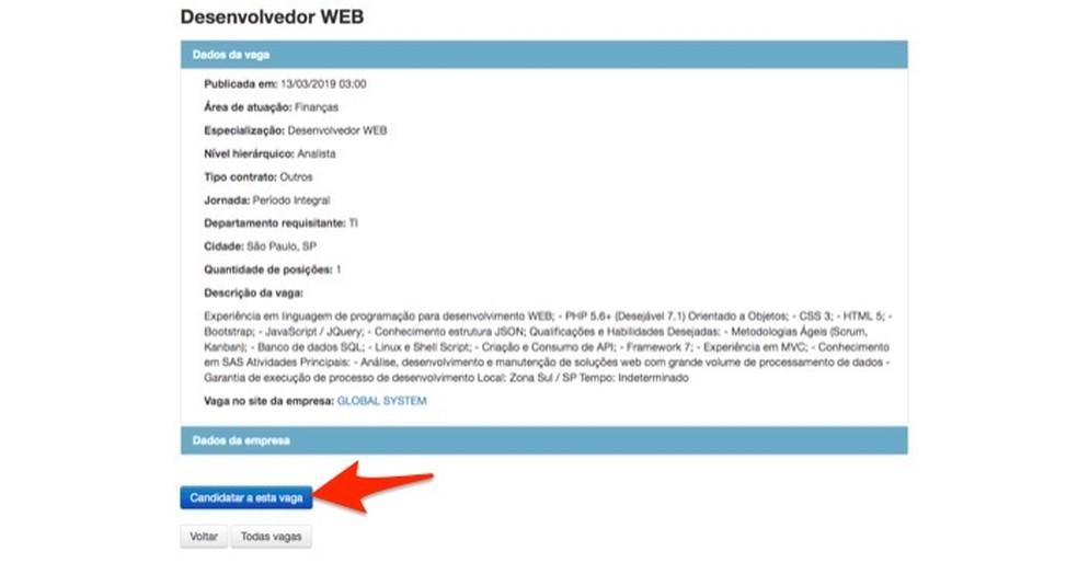 Ação para se candidatar a uma vaga oferecida no site Brasil Mais Digital — Foto: Reprodução/Marvin Costa