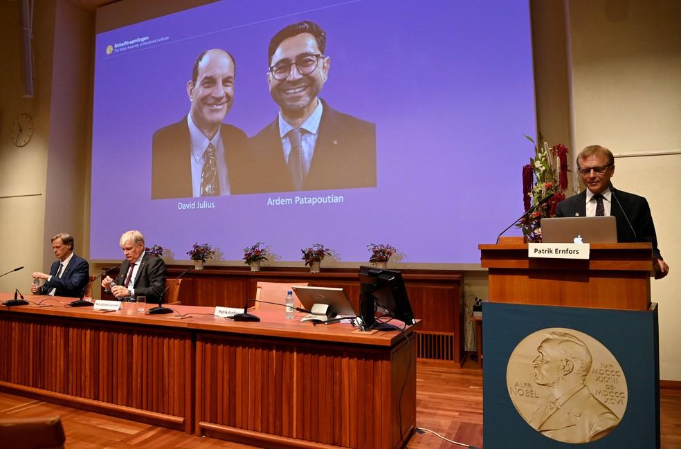David Julius e Ardem Patapoutian, vencedores do Nobel de Medicina 2021, por descobertas sobre temperatura e toque — Foto: Jonathan NACKSTRAND / AFP