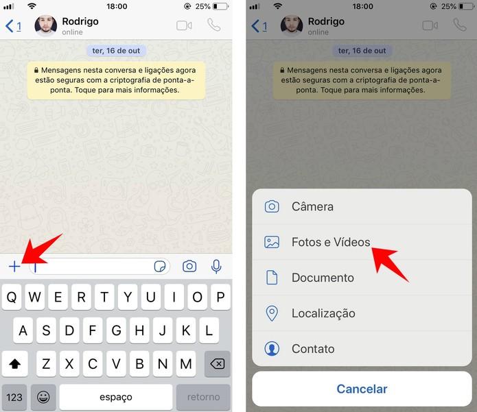 WhatsApp permite transformar vídeos da galeria em GIFs animados  (Foto: Reprodução/Rodrigo Fernandes)