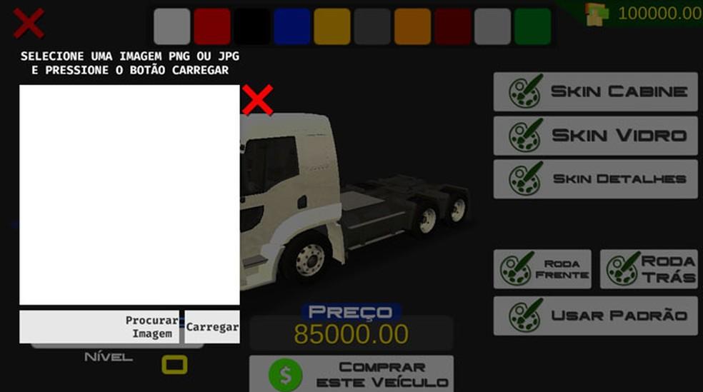 Heavy Truck Simulator tem skins para cabine, vidro, detalhes e rodas (Foto: (Foto: Reprodução/Tais Carvalho))