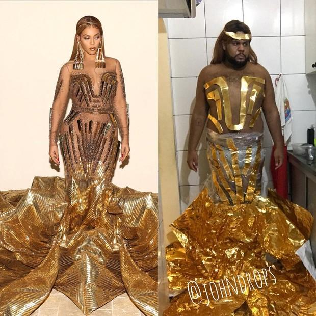 """John Drops reproduz, com bom humor, look usado por Beyoncé: """"Quando o boy fala que gosta de Ferrero Rocher"""" (Foto: reprodução/Instagram)"""