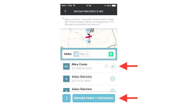 Confirmando o compartilhamento de um trajeto para um contato do Waze (Foto: Reprodução/Marvin Costa)