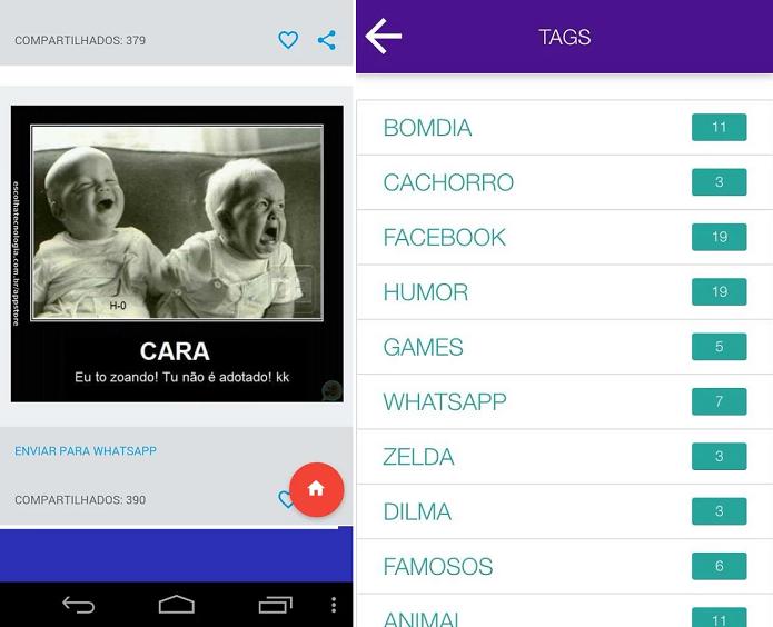 Zuerias Sem Limites é um app para enviar memes pelo WhatsApp (Foto: Divulgação)