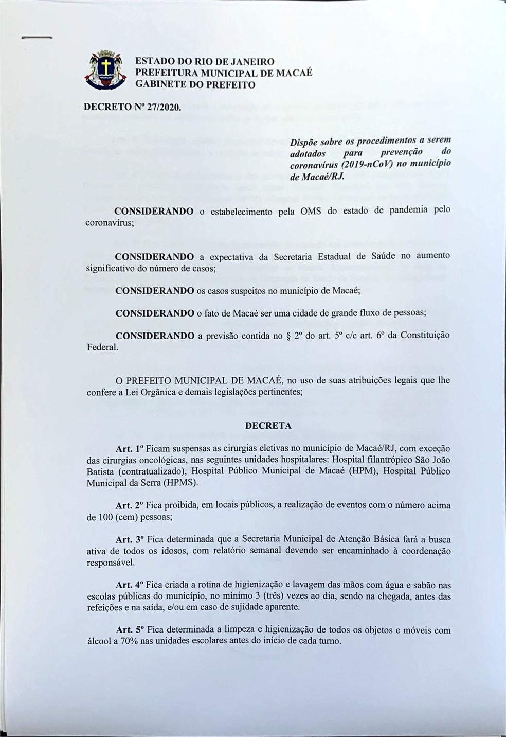 Prefeitura de Macaé anuncia decreto com medidas contra o coronavírus após  OMS confirmar pandemia | Região dos Lagos