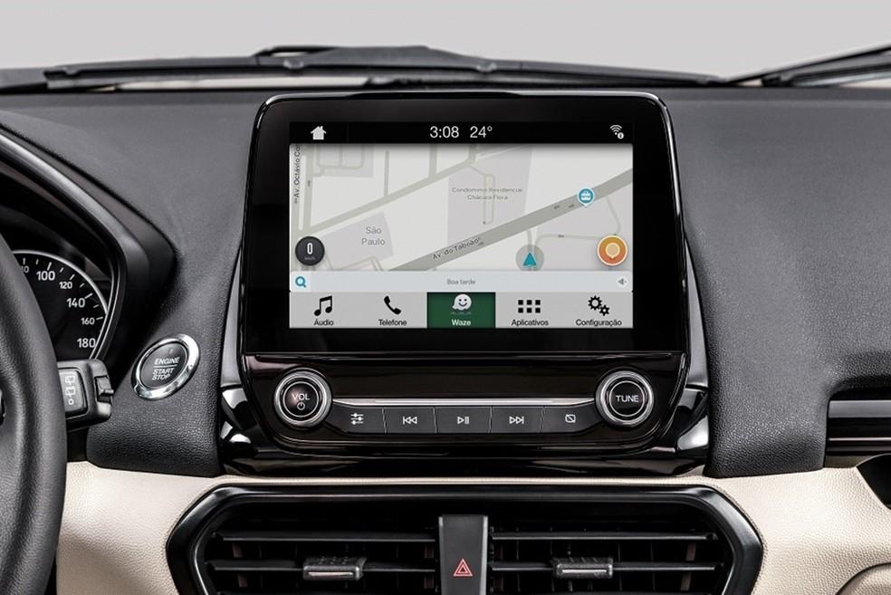 Central multimídia da Ford com Waze (Foto: Divulgação)