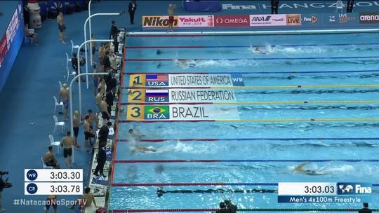 Vale a pena ver de novo, 4x100 livre é bronze em Hangzhou