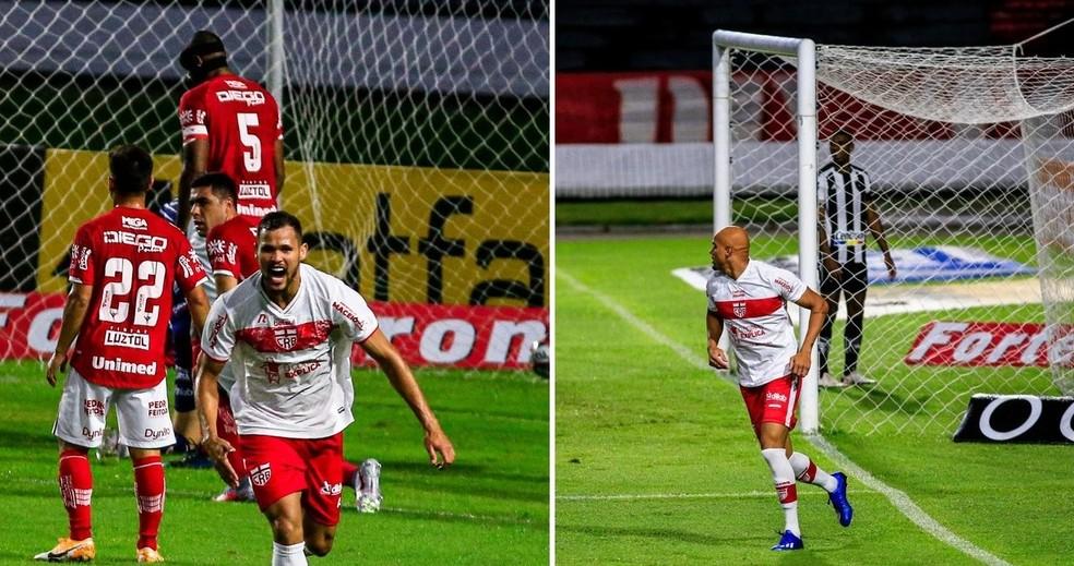 Alan James e Nicolas Careca acirram disputa pela camisa 9 do CRB — Foto: Ailton Cruz/Gazeta de Alagoas