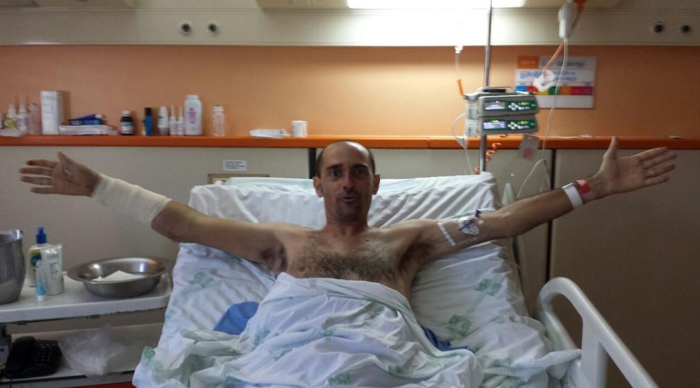 Fotógrafo no Hospital São Rafael, em Salvador — Foto: Arquivo Pessoal