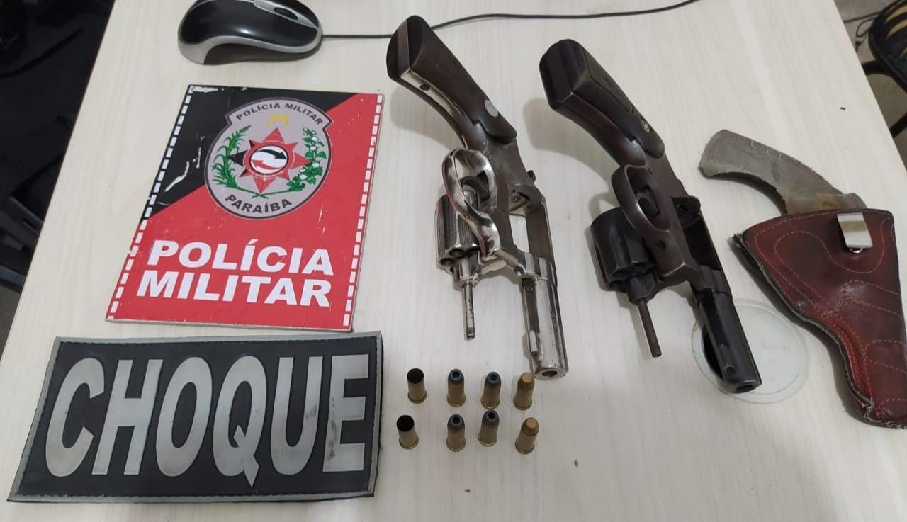 Sete armas são apreendidas em dois dias de operação da PM, na Paraíba