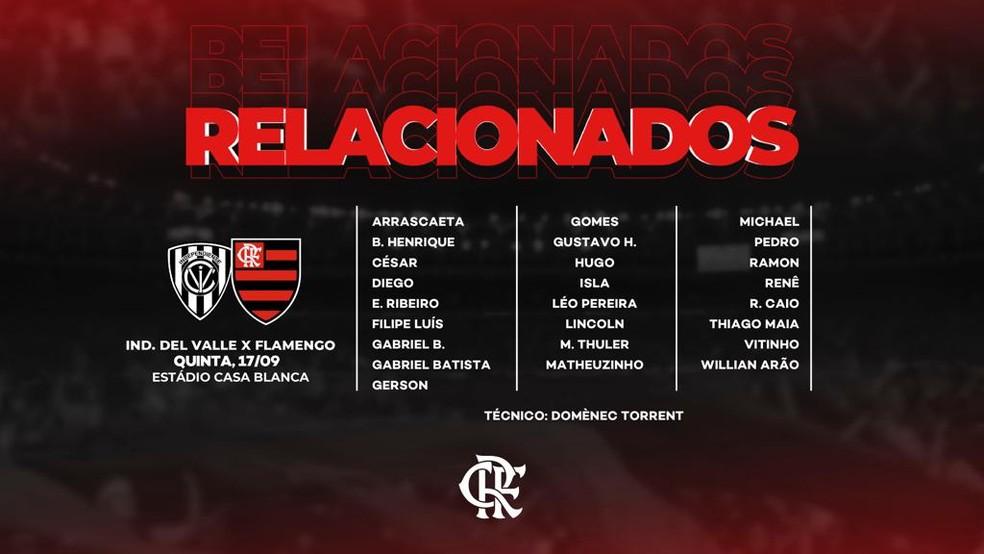 Lista de relacionados do Flamengo para volta da Libertadores — Foto: Reprodução