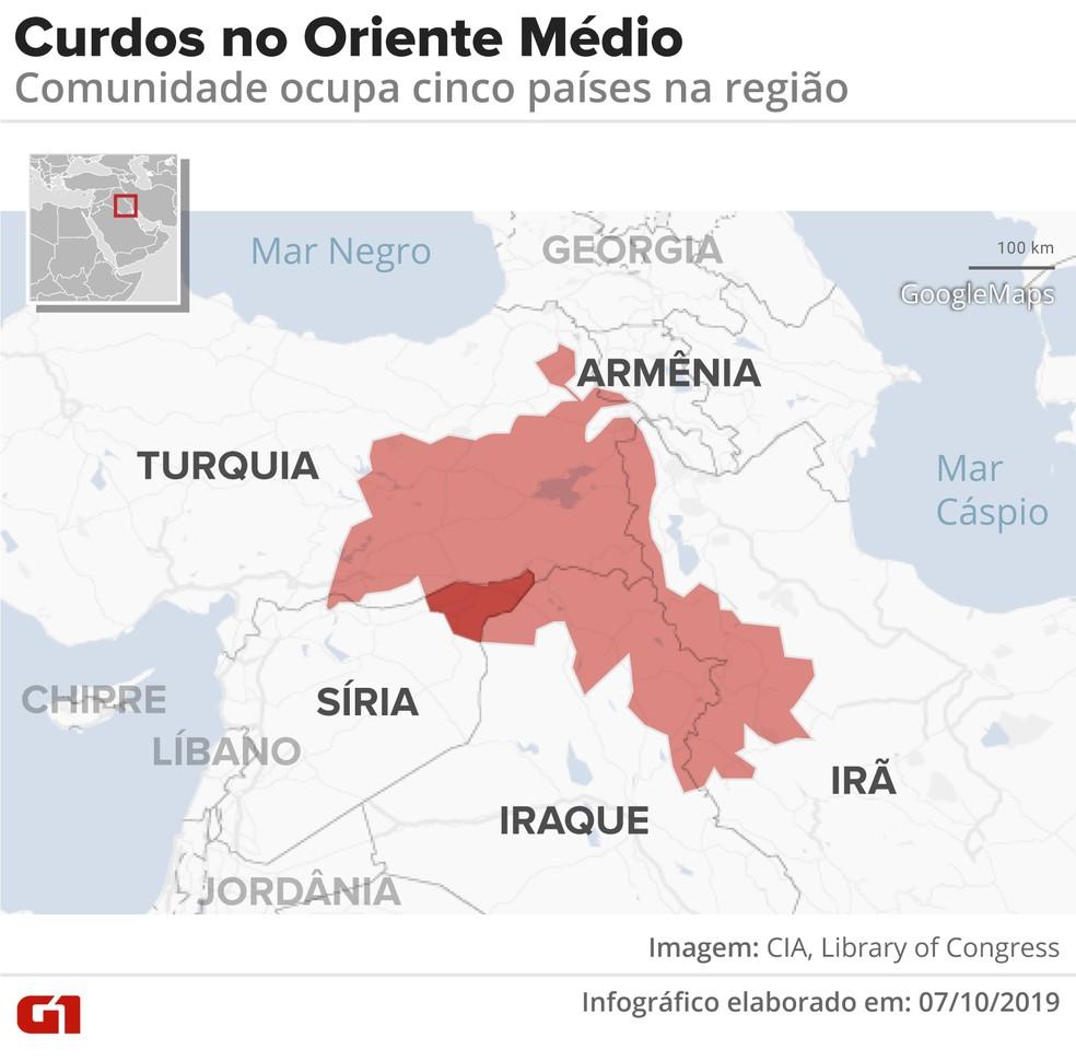 Mapa dos curdos no Oriente Médio — Foto: Wagner Magalhães/G1