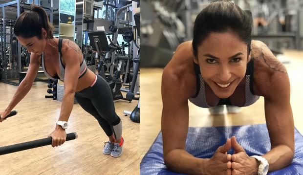 Juliana Veiga trabalhando os braços (Foto: Divulgação)