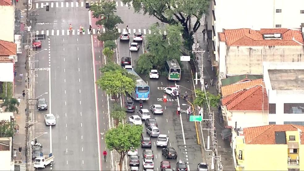 Árvore cai sobre ônibus em SP e corredor é bloqueado pela PM — Foto: TV Globo/reprodução