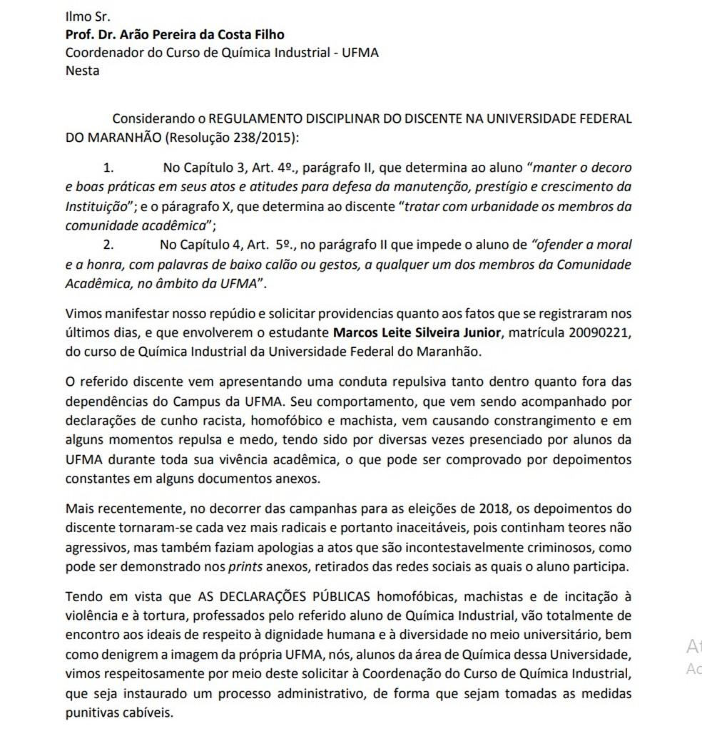 Nota dos alunos do curso de Química Industrial da UFMA contra as declarações do aluno Marcos Silveira — Foto: Divulgação