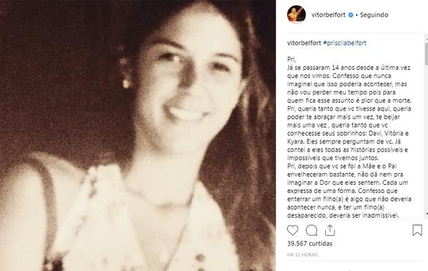 Publicação de Vitor Belfort (Foto: Reprodução/Instagram)