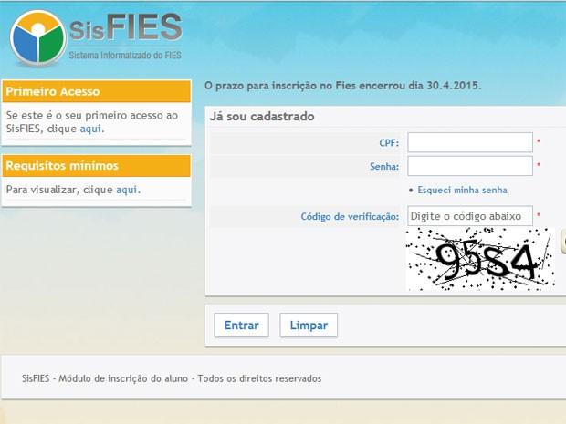Site do Fies aponta que o prazo de inscrição foi encerrado na quinta-feira (30) (Foto: Reprodução/MEC)