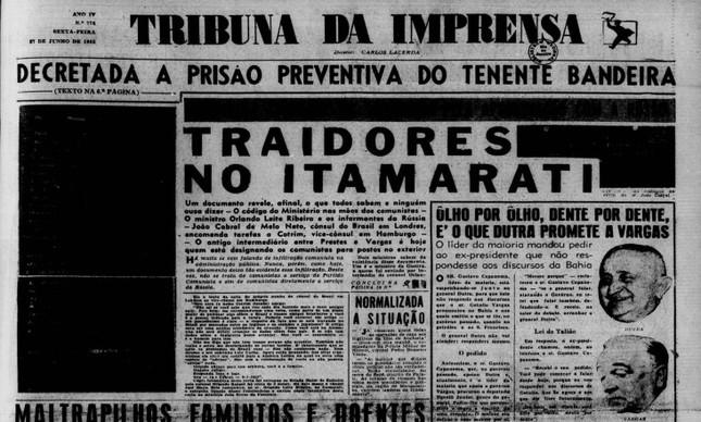 Tribuna da Imprensa, 27/06/1952: Acusação sem provas a João Cabral de Melo Neto