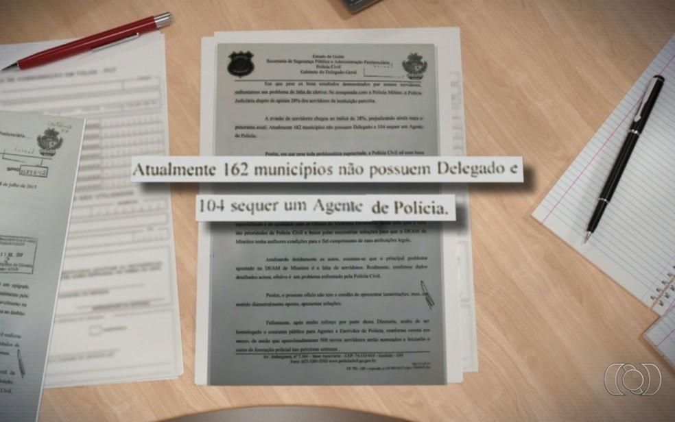 Polícia Civil diz que 162 cidades de Goiás não têm delegados ; MP apura situação (Foto: Reprodução/TV Anhanguera)