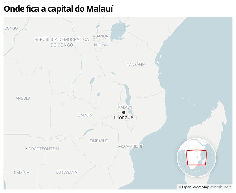 Mapa mostra a localização do Malauí — Foto:  G1