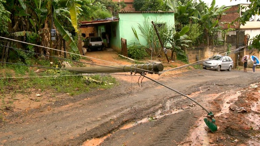 Árvore derruba postes em Cariacica (Foto: Reprodução/ TV Gazeta)