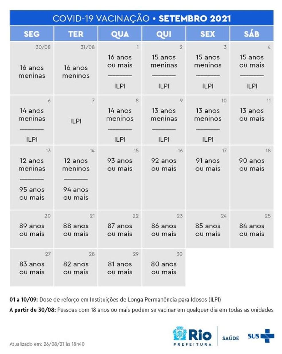 Calendário de vacinação para idosos que vivem em instituições de longa permanência— Foto: Reprodução