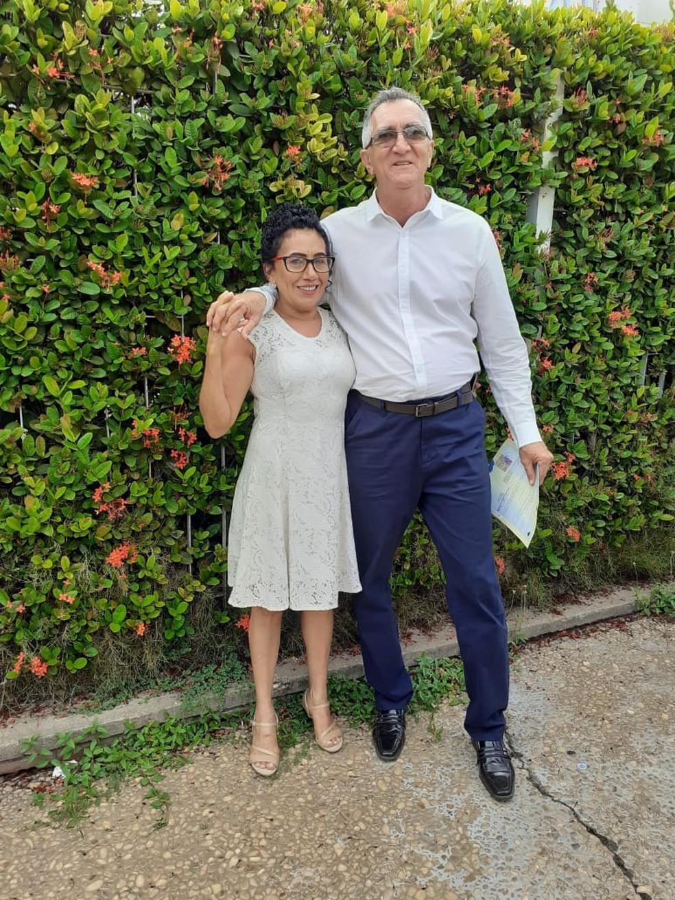 George e Teresa se casaram em janeiro de 2020 — Foto: Arquivo Pessoal/George Batista