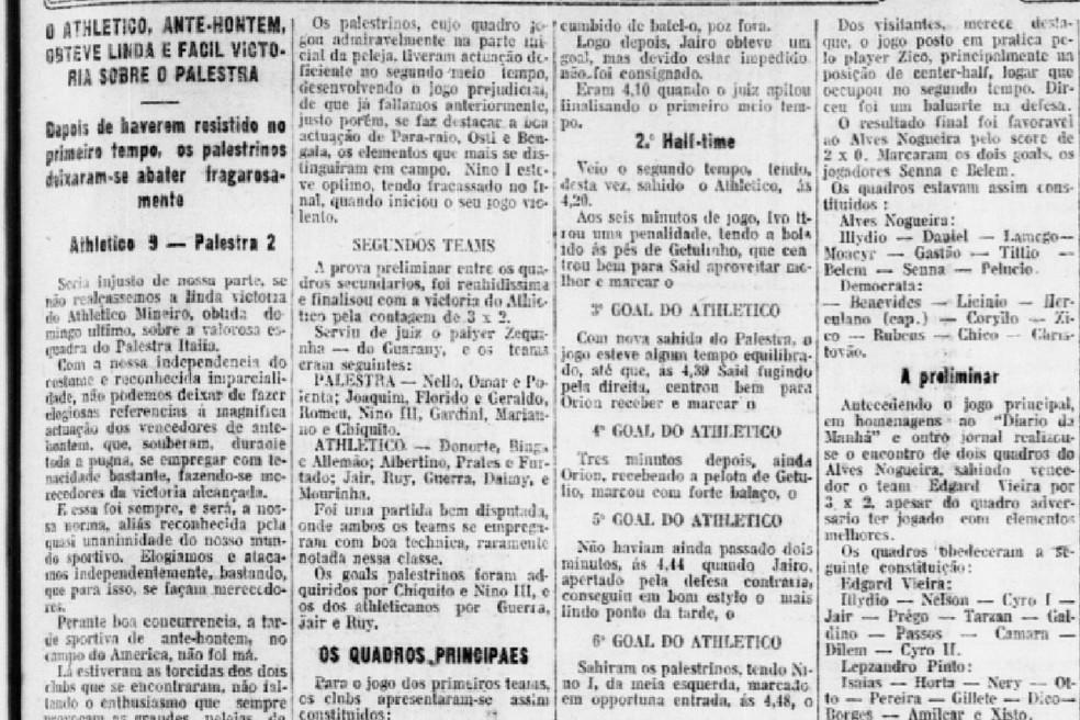 """Pedaço do jornal """"Diário da Manhã"""" - reportagem pós-jogo — Foto: Reprodução/Diário da Manhã"""