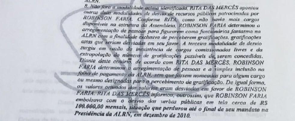 Decisão do STJ traz informações da delação da ex-procuradora da ALRN Rita das Mercês (Foto: Reprodução)