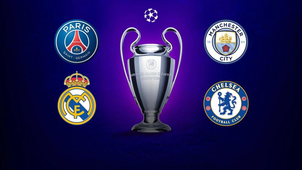 Liga dos Campeões será de PSG, Manchester City, Real Madrid ou Chelsea — Foto: Reprodução / Uefa.com via Getty Images