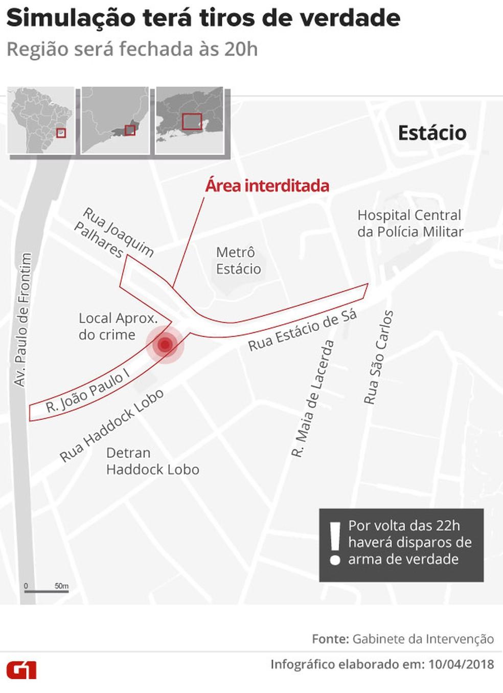 Esquema de trânsito para reconstituição; no ponto, o local da execução (Foto: Arte/G1)