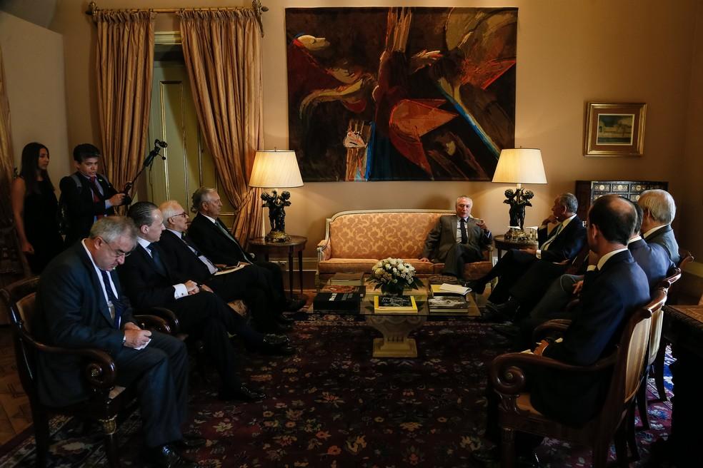Michel Temer participa de reunião com o presidente de Portugal, Marcelo Rebelo de Sousa, no Palácio de Belém (Foto: Beto Barata/PR)