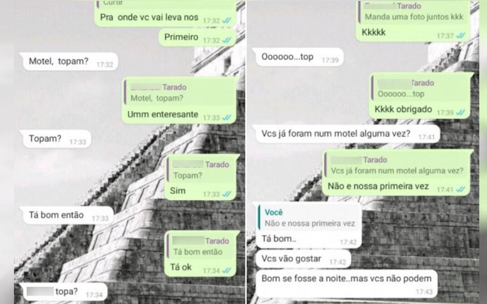 Conversa entre o PM e o primo da vítima mostra quando suspeito os chamam para irem a motel, em Rio Verde, Goiás — Foto: Reprodução/Polícia Civil