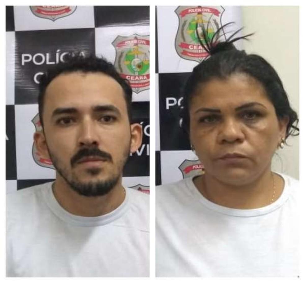 Alisson de Almeida e Liliane Gomes foram presos em flagrante suspeitos de vender consórcios e cartas de crédito de veículos falsas em Fortaleza. — Foto: Policia Civil/Divulgação